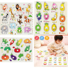 Baby Kids Wooden Puzzle Hand Grasp Kid Early Educational Toys Animal Learning