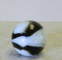 #12559m Vintage Peltier Glass NLR Zebra Marble With Aventurine .64 In Mint
