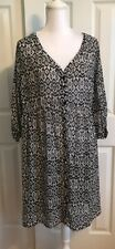 NWT Torrid Ikat Chiffon Shirt Dress Size 2 (18/20) Black And White Missing Slip
