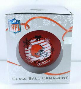 Cleveland Browns Hanging Glass Ball Christmas Ornament Orange Helmet