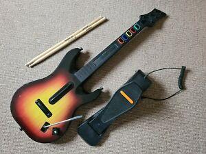 Guitar Hero Red Octane Guitar & Rock Band kick pedal/drumsticks (Xbox 360)