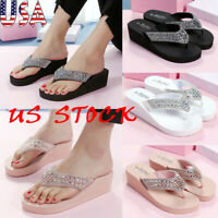 Women Sequined Wedge Platform Heel Flip Flops Beach Sandals Slippers Shoes Size