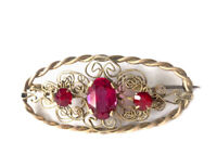 Vintage Czech Art Deco Gold Tone Ruby Red Pink Paste Brooch GIFT BOXED