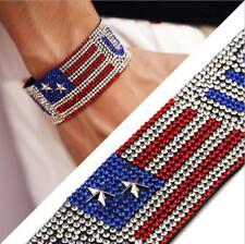 US! July 4th USA American Flag Patriotic Design Charm Bracelet Rhinestone Hiphop