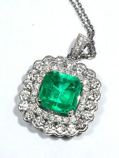 Natural 3.78ct Colombian EMERALD & DIAMOND Necklace - N6357