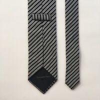 Ermenegildo zegna tie black silver stripes 100% silk made in Italy pa0866