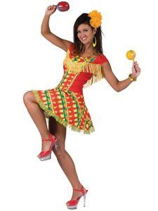 Ladies Mexican Lady Costume Spanish Senorita Fancy Dress Flamenco Size 12-14