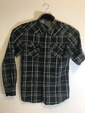 Oakley Mens Snap Front Shirt Size Small Plaid Black