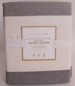 Pottery Barn PB Teen Huntington Ombre Stripe FQ duvet cover full queen, gray