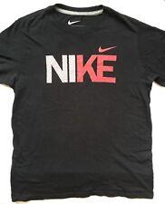 NIKE Athletic Short Sleeve Shirt Boys Size L EUC Black w/ NIKE & Swoosh