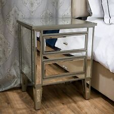 Contemporary Design Mirror Glass Two-Drawer Nightstand / Accent Table