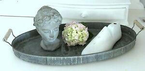 Großes Tablett  mit Griff, Zink gekälkt, Oval, Shabby Landhaus, 42 cm,