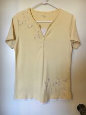womens size s, yellow design shirt top by cc hughes