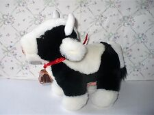 VINTAGE RUSS DIDDLE PLUSH BLACK & WHITE COW WITH COWBELL VGC