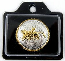 "1-1/4"" Bull Rider Round Concho w/Rope Edge (Silver & Gold Plate) - Screwback"