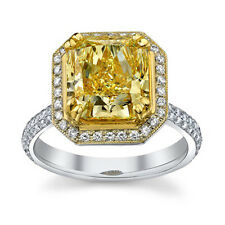 3.86 Ct. Fancy Yellow Radiant Cut Diamond Engagement Ring SI1 (GIA)