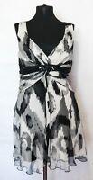 LINEA RAFFAELLI Silk Black / White Dress Embroidery sequins Size 42 / UK 16