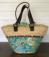 Retired Peacock Vera Bradley Large Straw Tote Beach Shopper Bag 12x20x10 Green