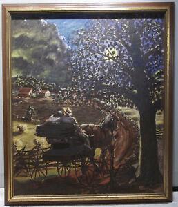 FOLK ART PAINTING by PAPA HORNING BERKS COUNTY ARTIST MOONLIGHT COURTING