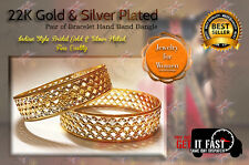 GOLD 22K & SILVER PLATED BRACELET BANGLE FOR WOMEN ETHNIC TRADITIONAL BAND 2*6