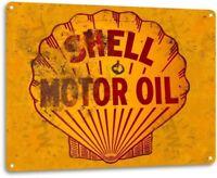 Shell Motor Oil Rust Oil Gas Metal Service Auto Car Shop Garage Sign