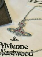 Vivienne Westwood silver Bas Relief Kika Crystal Orb Pendant Necklace NEW