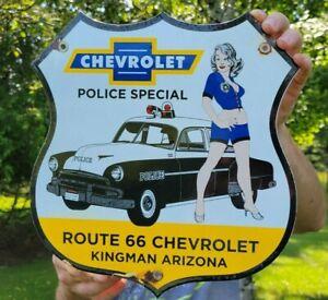 VINTAGE DATED 1952 CHEVROLET POLICE PORCELAIN ENAMEL CAR DEALER SIGN CHEVY GM