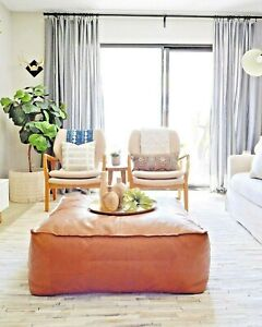 EXCLUSIVE Square Leather Footstool table Moroccan Pouf Ottoman Square Large