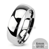 6mm Wide Stainless Steel 316L Classic Comfort Fit Wedding Ring Band Size 5-13