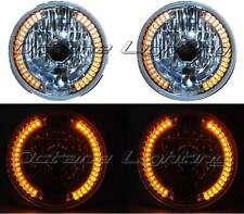 "7"" Halogen Amber LED Halo Turn Signal Angel Eye Headlight Crystal H4 Light Bulbs"
