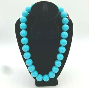 NWT $128 Turquoise Glass BEAD Statement NECKLACE HAND KNOTTED w/STERLING CLASP