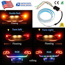 LED Car Trunk Tailgate Strip Light Brake Drive Turn Signal RGB Flow Lamp 7 Color