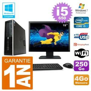"PC HP Compaq 8100 SFF Ecran 19"" i5-650 RAM 4Go Disque 250Go Graveur DVD Wifi W7"