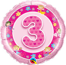 """3rd BIRTHDAY PARTY SUPPLIES BALLOON 18"""" PINK FAIRIES NUMBER 1 PINK FOIL BALLOON"""