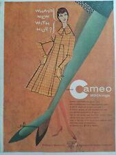 1958 Burlington Bur-Mil Camafeo Medias las Verde Pierna Vintage Arte Anuncio