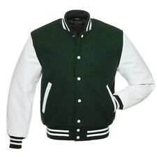 Baseball Varsity Style Green Wool & White Real Leather College Letterman Jackets