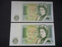 1978  J B PAGE PAIR OF UNCIRCULATED AND CONSECUTIVE £1 NOTES  DUGGLEBY REF.B339