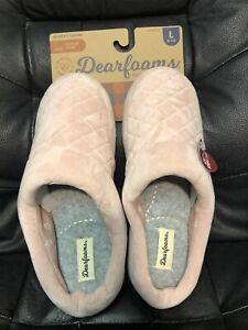 Womens Slippers Dearfoams STEPFOAM Memory Foam Pink Velour L 9-10