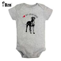 I Love My Great Dane Newborn Jumpsuit Baby Short Sleeve Romper Bodysuit Clothes