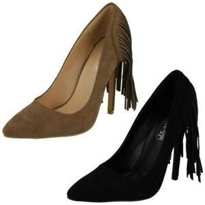 Ladies Spot On High Heel Fringe Trim 'Court Shoe'