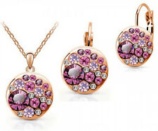 Lovely 18K Rose Gold Plated PINK Crystal Earrings & Pendant Necklace Jewelry Set