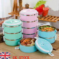 1-4 Tier Round Stainless Steel Thermal Insulated Lunch Box Bento Food Container