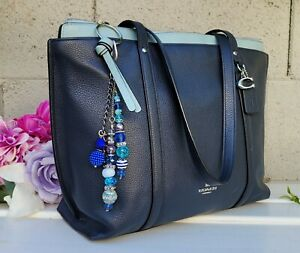New Coach 1573 pebbled Leather May zip top Tote shoulder bag purse shopper NAVY
