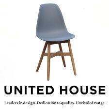 Grey Plastic Outdoor Teak Timber Dining Chair Garden Deck Modern Retro Furniture