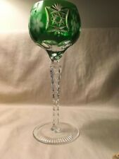 "Crystal Clear ""Grape"" emerald chased cut to clear crystal hock wine"