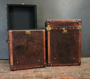 English Handmade Side Table Campaign Chests Trunks