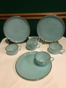 8 Pcs. Vintage Fire King Turquoise Delphite Blue Hostess Snack Set 22K Gold Trim