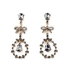 E1885 Lady Unique Fashion Jewelry Gray Crystal Teardrop Bow Dangle Drop Earrings