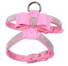 Soft PU Leather Bowknot Dog Harness  Bling Rhinestones for Small Medium Dogs S-L