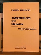 Karsten Behrmann Anmerkungen und Ubungen méthode flute a bec choudens